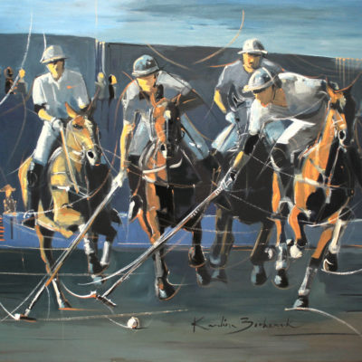 Polo Game in actylics on canvas